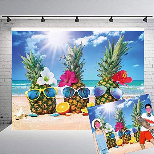 Qian 7x5ft Vinyl Hawaiian Seaside Theme Photography Backdrops Sunshine Beach Sky Pineapple Photo Background for Wedding Summer Holiday Party Decoration Starfish Fruit Studio Props Banner -