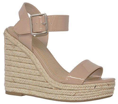 534adee1a MVE Shoes Women's Peep Toe Ankle Strap Buckle - Summer Espadrille Wedges -  Fashion High Platform, Beige pat Size 10