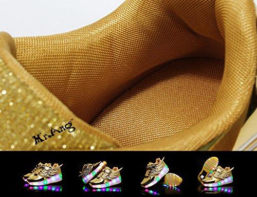 Mr.Ang con Luces LED Coloridos Parpadeante Neutra ruedas de Patines de Rueda Patín Zapatos Zapatos del Patín Zapatos Deportivos Niños y Niñas Malla de Zapatos Calzado Transpirable K03 Doré