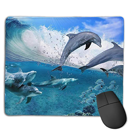 Teesofun Unique Mouse Pad Happy Dolphins Play Games Rectangle Rubber Mousepad 8.66 X 7.09 Inch Non-Slip Gaming Mouse Pad