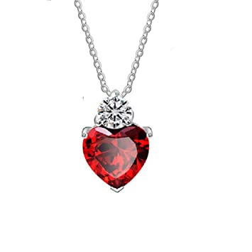 3976eb6b5 Image Unavailable. Image not available for. Color: Lam Sence Sterling Silver  10mm Red Garnet Heart Swarovski Crystal and Diamond Pendant Necklace