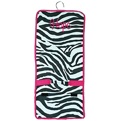 Personalized Hot Pink Zebra with Pink Lining Hanging Cosmetic Makeup Bags by LD Bags