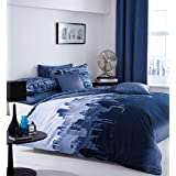 Catherine Lansfield City Scape King Size Quiltset, Blue