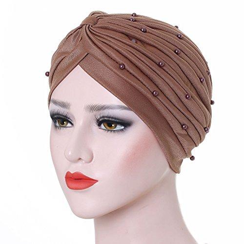 - ieasysexy Pearl Beaded Turban Hat Stylish Tied Turban Cap Hair Wrap Cover up Muslim Headscarf Beaded Pleated Simple Bonnet (Khaki)