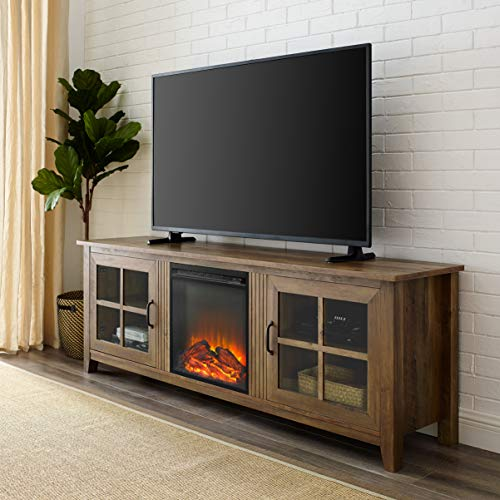 WE Furniture Fireplace TV Stand, Reclaimed Barnwood (Fireplace Electric Stands)
