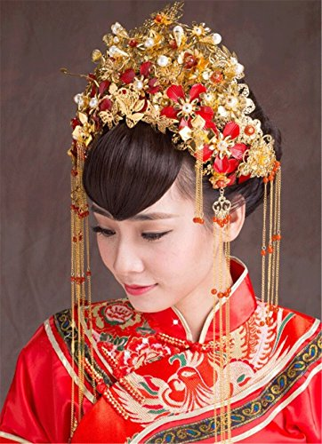 BININBOX Vintage Wedding Hair Retro Chinese Style With Bead For Women Bridal Bridesmaids Headpiece Head Band Accessorie Flowers (F)