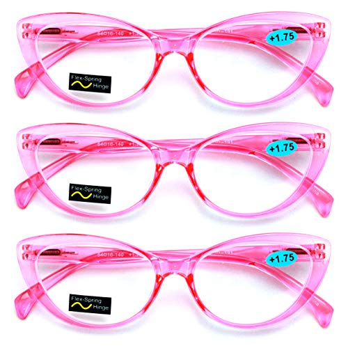 Hollywood Reading Glasses - 3 Pairs Lot Women Cateye Translucent Clear Floral Pattern Fashion Reading Glasses Reader (3 Pink, 1.25)