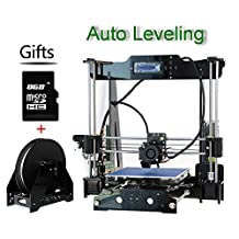 New Upgraded High Precision P802MA Auto Leveling Desktop DIY Reprap Prusa i3 3D Printer Kit Equipped with LCD Screen Acrylic Frame MK8 Extruder Self-assembly Printer,Imprimante 3d with One Filament Gift+8GB Card