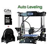 New Upgraded High Precision Auto Leveling Desktop DIY Reprap Prusa i3 3D Printer Kit Equipped with LCD Screen Acrylic Frame MK8 Extruder Self-assembly Printer One Free Roll Filament Gift+8GB Card