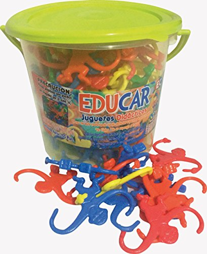 Bucket of Monkeys Game - 100 Pc - 5 Bright Colors. Learning Toy. Classic Game. Hours of Fun by Mareta