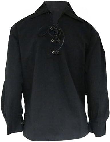 Tartanista - Camisa Escocesa Tipo jacobita/Ghillie para niños - Negro - 5-6 años: Amazon.es: Ropa y accesorios