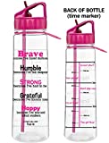 Motivational ''Brave Because I've Faced Darkness'' Fitness Water Sports Bottle w/ Time Marker, Measurement Goals, & Inspirational Quotes | SlimKim II | Perfect Breast Cancer Survivor Gift (Hot Pink)