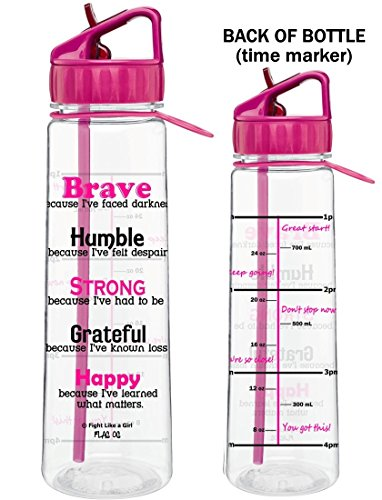 Breast Cancer Drinking Glass - Fight Like a Girl Motivational Brave Because I've Faced Darkness Slimkim II Water Sports Bottle for Fitness Workout Exercise | Time Marker with Inspirational Phrases 30 Oz (Hot Pink)