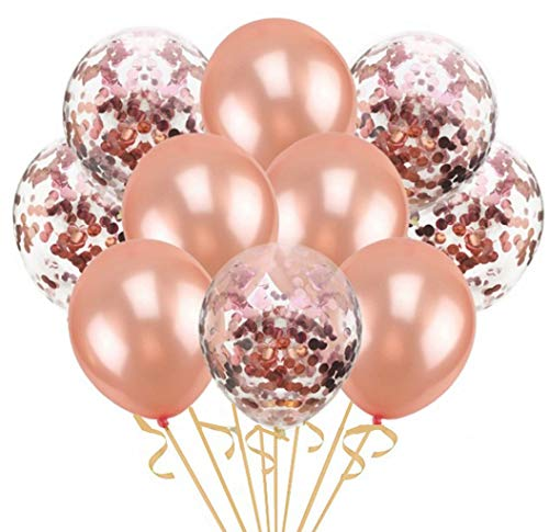 30 Pack Rose Gold Confetti Balloons Decorations Great for Bridal Shower Decorations, Birthday Party | Bridal Shower Balloons | Pre-Filled Rose Gold Confetti Metallic Latex Balloons Bonus Ribbon