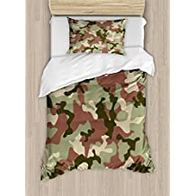 Camo Duvet Cover Set by Ambesonne, Illustrated Green Camouflage in Forest Colors Hunter Combat, 2 Piece Bedding Set with Pillow Sham, Twin / Twin XL, Dried Rose Dark Green Army Green