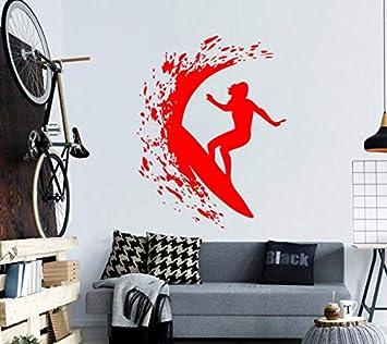 Chica surfeando en el mar Olas Silueta Etiqueta de la pared Mujer ...