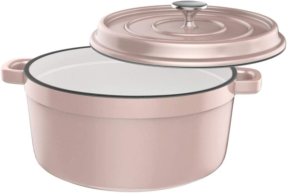 Especo Cast Iron with Lid Enameled Dutch Oven Casserole Dish Nonstick Multi-functional Cookware 6-quart Large Loop Handles & Self-Basting Condensation Ridges On Lid Large(Pink)