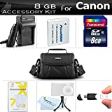 8GB Accessories Bundle Kit For Canon PowerShot SX170 IS SX520 HS, SX530 HS, SX540 HS Digital Camera Includes 8GB High Speed SD Memory Card + Replacement NB-6L Battery + AC/DC Charger + Case ++