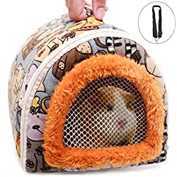 Portable Small Animals Hedgehog Hamster Carrier Bag with Detachable Strap Zipper Breathable Guinea Pig Rat Chinchillas Hamster Hedgehog Outdoor Travel Carrier Pounch Bag for Small Animal Carrier