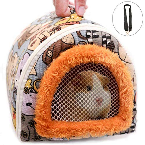 Portable Small Animals Hedgehog Hamster Carrier Bag Case with Detachable Strap Zipper Breathable Small Guinea Pig Rat Chinchillas Hamster Hedgehog Outdoor Carrier Pounch Bag for Small Animal Carriers -