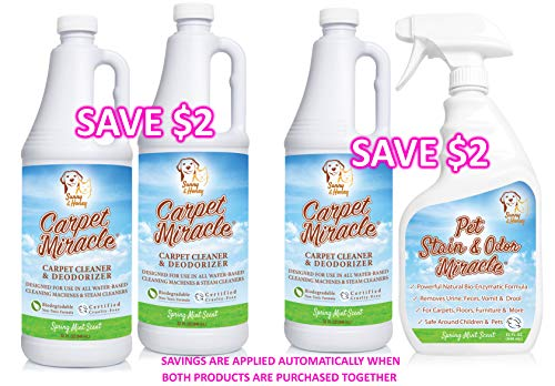 Carpet Miracle - The Best Carpet Cleaner Shampoo Solution for Machine Use, Deep Stain Remover and Odor Deodorizing Formula, Rug Car Upholstery and Carpets, Smells Great, Concentrated Natural (32FL OZ)