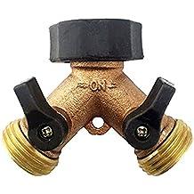 SOMMERLAND A1001 Heavy Duty Brass Y 2 Way Garden Hose Connector 2-Way Splitter 10 Hose Washers