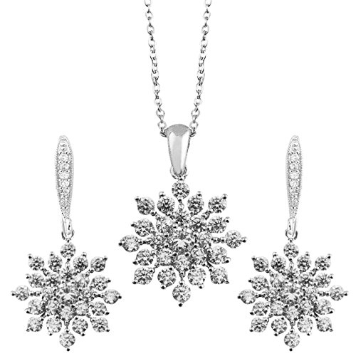 Snowflake-Silver-Tone-Crystal-White-Necklace-Earring-Jewelry-Set-for-Her