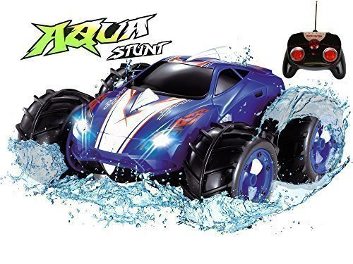 Click n' Play Land & Water Amphibious RC Remote Control Car, 200 Ft Range - Blue
