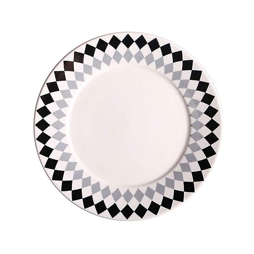 NuoEn Plato De Cerámica, Plato Redondo Desayuno Cena Platos para ...
