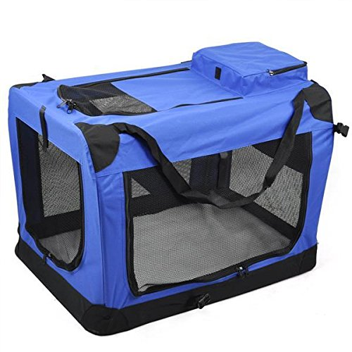 World-Pride-Dog-Soft-Crate-Kennel-for-Pet-Indoor-Home-Outdoor-Use-Soft-Sided-3-Door-Folding-Travel-Carrier-with-Straps-Blue-236-x-165-x-165
