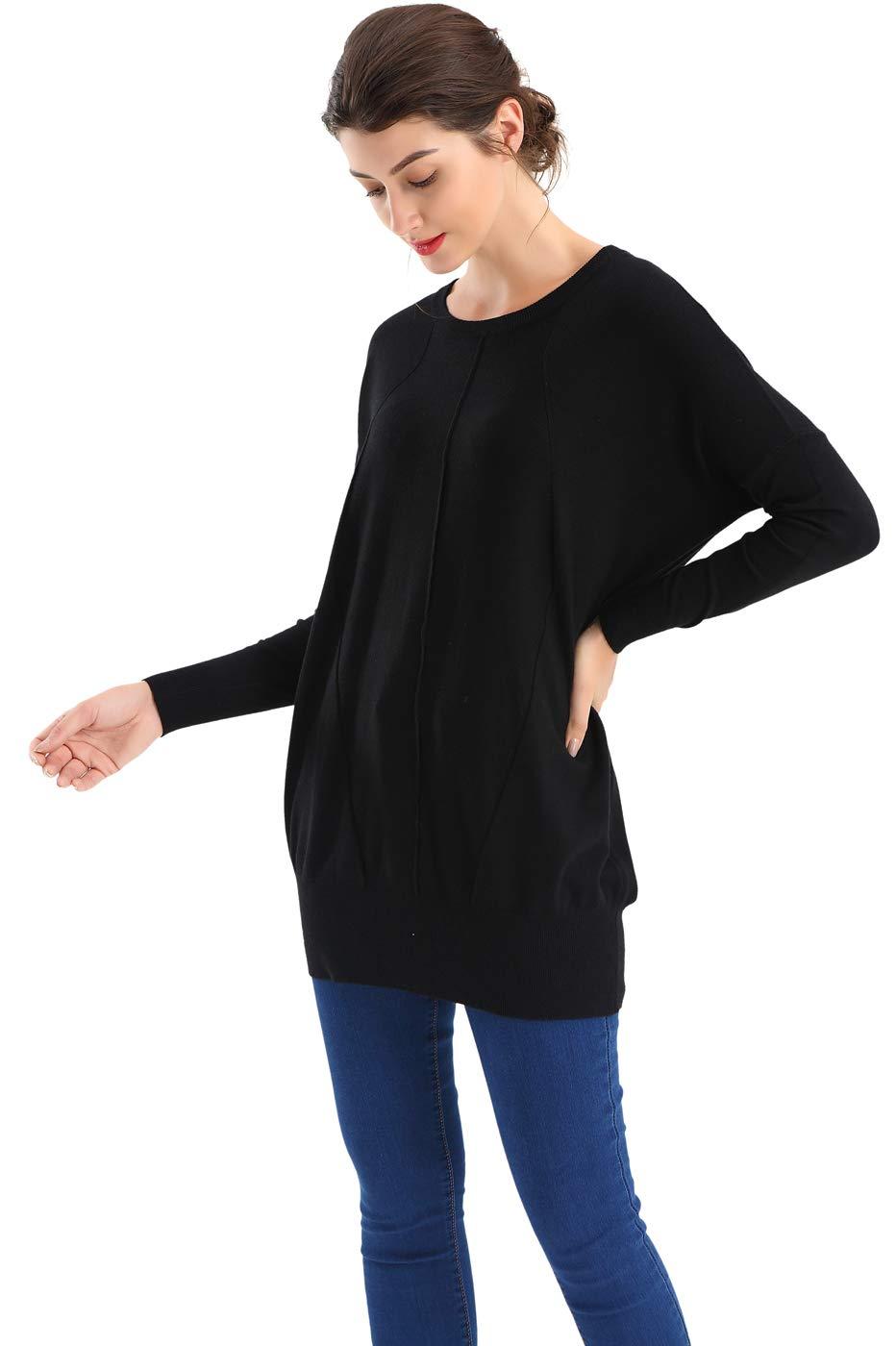 BodiLove Women's Dolman Sleeve Boat Neck Oversized Sweater Top Black XL