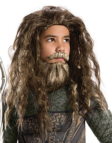 [Rubie's Costume Boys Justice League Aquaman Beard & Wig Costume, One Size] (Aquaman Costume For Kids)
