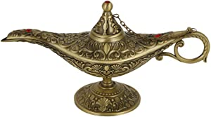 Aladdin Magic Genie Lamp, Retro Arabian Costume Props Decoration for Home Wedding Gift for Party Halloween(Green Patina)