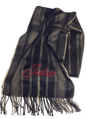 Best Custom Name Personalized Wide Winter Stripes Black & Tan Scarf Dad Father Grandpa Great Men Women Him Her Grandparent Parent Nurse Young Adult Scarves Easter Basket Gift Idea 2018 (Scarf Personalized Mens)
