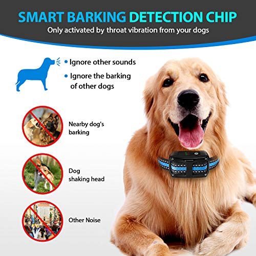 PetYeah [Upgraded 2019 Dog Anti Bark Collar Smart Detection Adjustable Collar Rechargeable Rainproof Beep Vibration Shock 5 Sensitivity Humane & Harmless Bark Collar for Small Medium, Large Dog