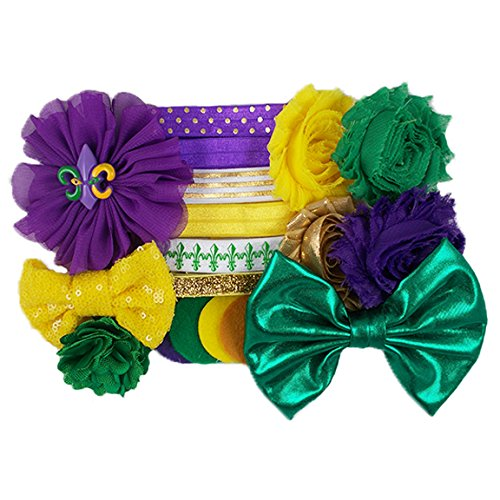 Bourbon Street Babe - Mini DIY Headband Kit - Makes 6 Headbands - Baby Shower Headband Station - Fashion Headbands for Birthday Party & Baby Shower (Babe Mini)
