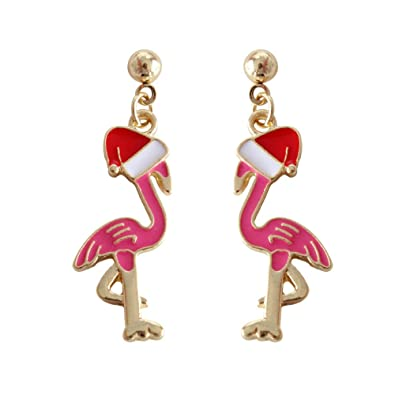 4a14c46d3 Gold Plated Pink Flamingo Fashionable Dangle Earrings Cute Bird Jewelry for  Christmas Gifts (stud flamingo