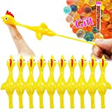 Namii W Slingshot Chicken Flick Chicken Fingers Stretchy Flying Chicken (10 Pack) Tricky Game Player's Favorite Scented Stress Relief Toy with A Tube of Water Beads (Yellow)