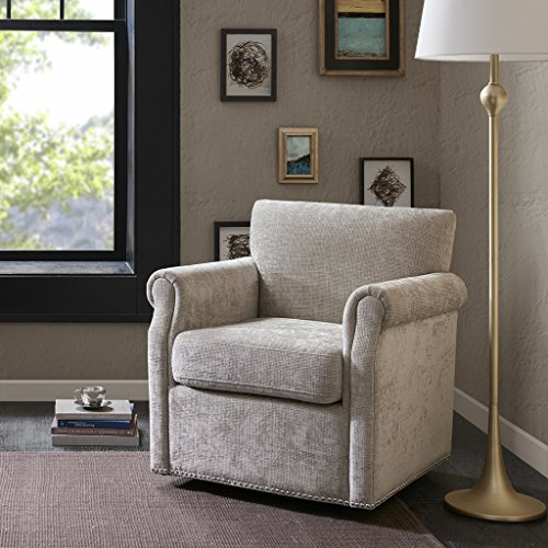 Madison Park MP103-0235 Aldrich Swivel Chair - Solid Wood, Plywood, Metal Base Accent Armchair Modern Classic Style Family Room Sofa Furniture, Cream