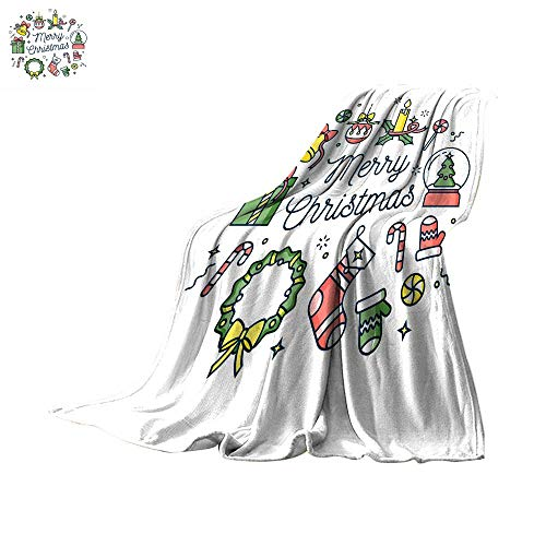 Coverlet Digital Printing WarmVector linear design Christmas greetings card on white background Typography ang icon for Xmas background banners or posters and other printables Throw Blanket ()