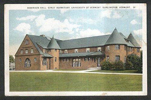 Robinson Hall Girls Dormitory University of Vermont Burlington VT postcard - Vt Kids Burlington