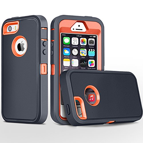 iPhone 5S Case,iPhone SE Case,Fogeek Heavy Duty PC and TPU Combo Protective Body Armor Case Compatible for iPhone 5S,iPhone SE and iPhone 5 with Fingerprint Function (Dark Grey/Orange)