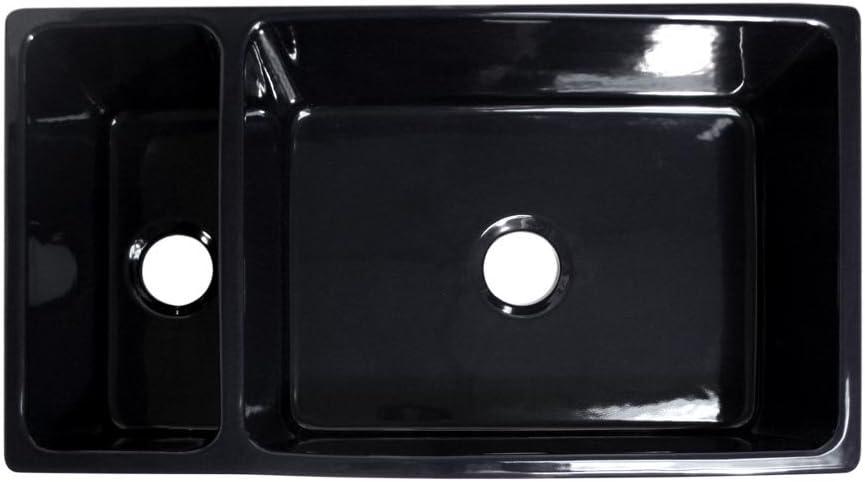Black Whitehaus Whqdb542 Bl Reversible Apron Front Fireclay 36x20x10 0 Hole Double Bowl Kitchen Sink Double Bowl Kitchen Sinks Fcteutonia05 De