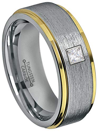 0.10ctw Solitaire Princess Cut Diamond Tungsten Ring - 8MM Brushed 2-Tone Stepped Edge Tungsten Carbide Wedding Band - April Birthstone Ring - s11 ()