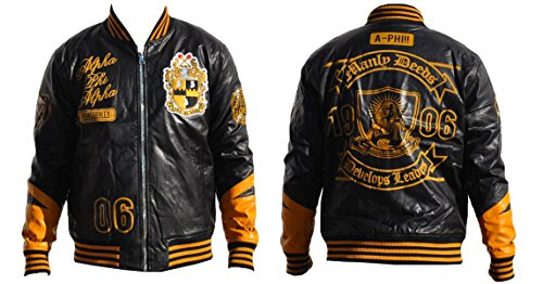 Mens Black and Gold Alpha Phi Alpha Zip Up Pu-Leather Jacket Size 5XL