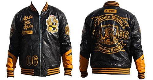Alpha Leather Jackets - Big Boy Gear Alpha Phi Alpha Script and Logo PU Leather Jacket, L