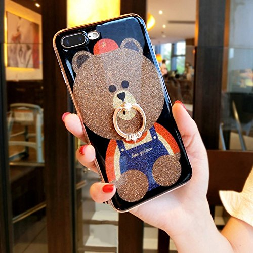 iPhone 8 Plus Case,iPhone 7 Plus Case,PHEZEN Luxury Glitter Sparkle Bling Cute Bear Design Slim Fit Soft TPU Silicone Rubber Case with 360 Degree Rotating Ring Stand Holder for iPhone 7 Plus/8 Plus (Sparkle Bear)