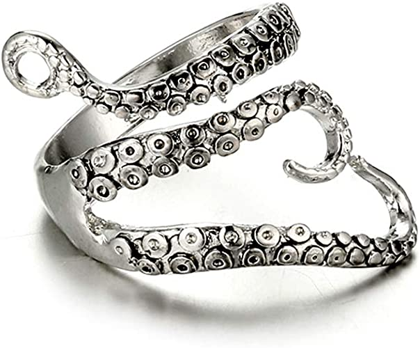 New Style Women Jewelry Octopus Claws Solid 925 Sterling Silver Ring Adjustable