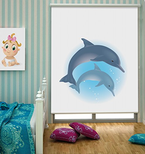 Konart Roller Blind with dolphin motif 39 3/8W 71 1/16H in, clamping carrier, translucent, 100% polyester, damp wipeable
