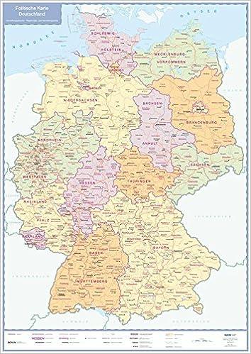 Politische Karte Deutschland Plano 9783897641419 Amazon Com Books